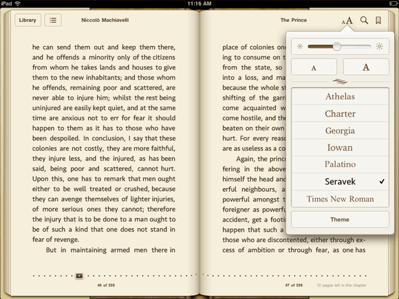 Seravek in Apple's iBooks