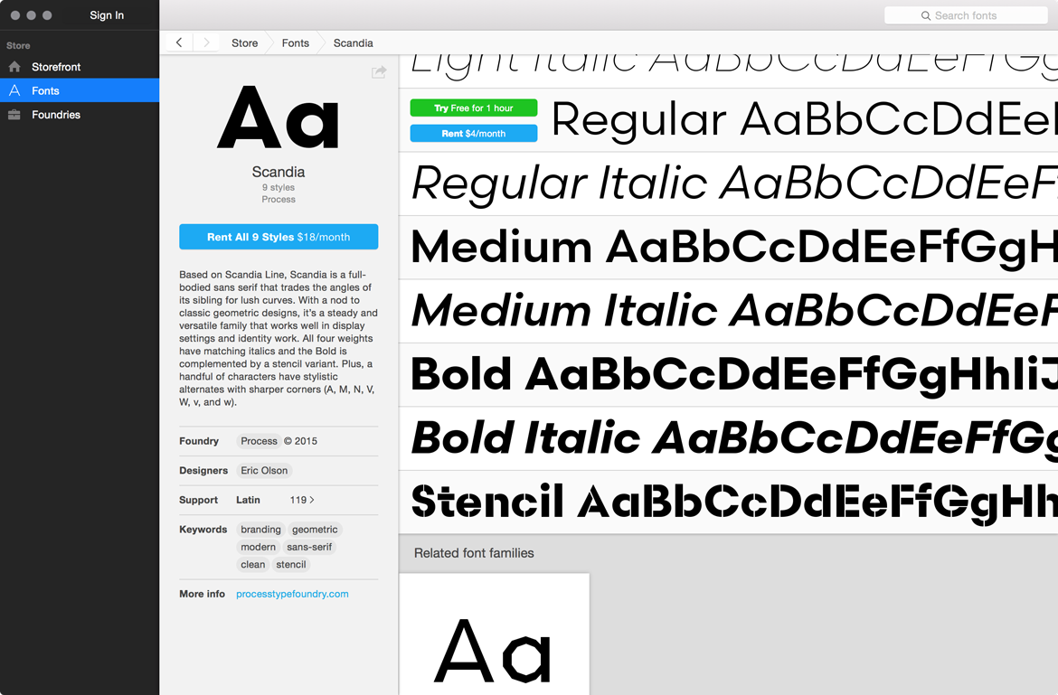 Scandia on Fontstand