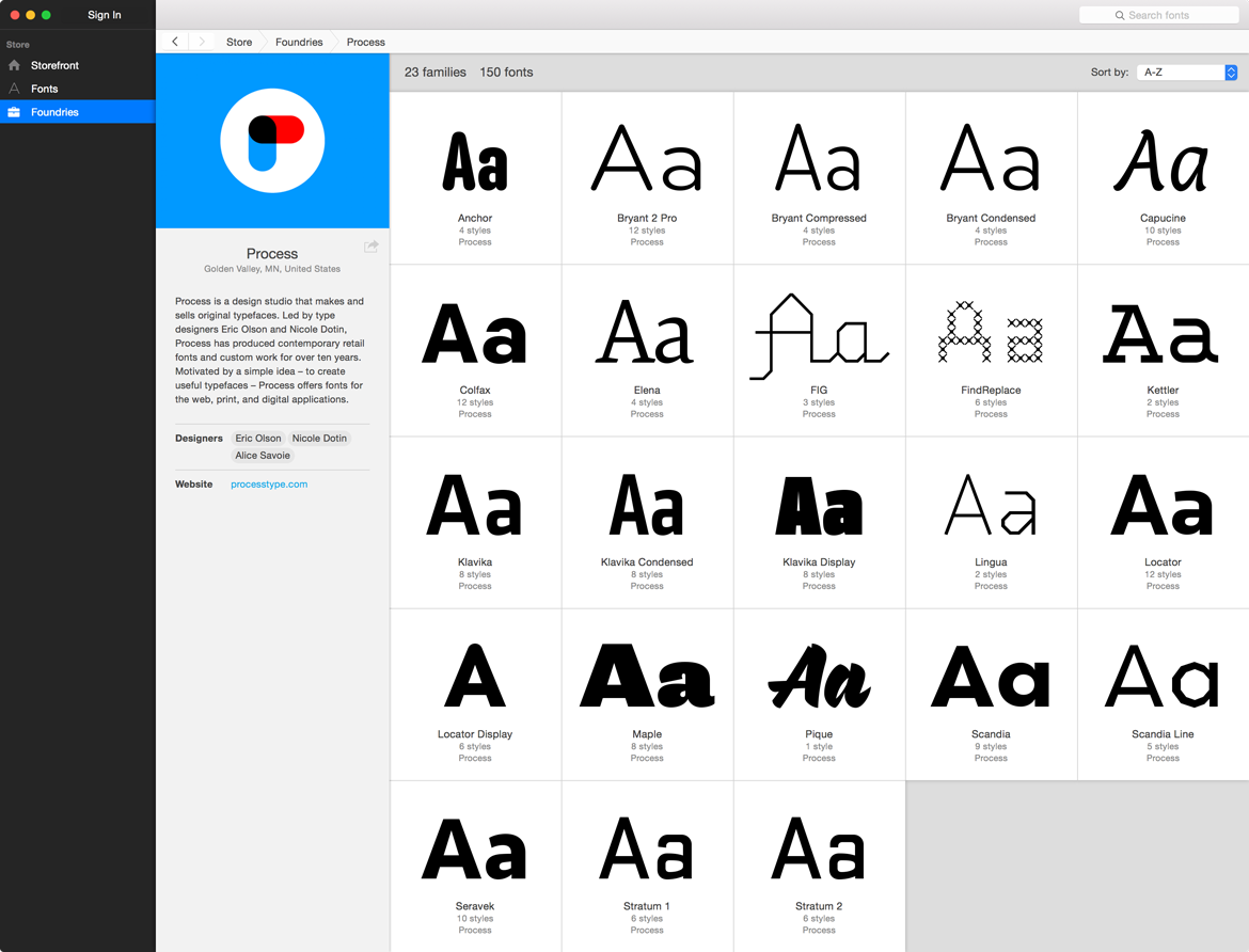 Process foundry page on Fontstand