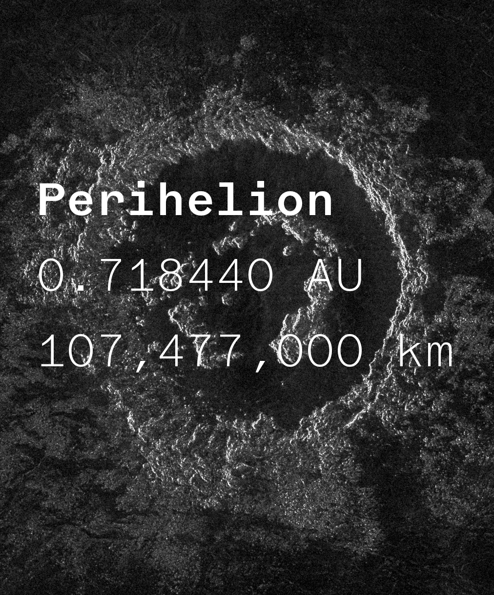 A mysterious image of the surface of Venus' moon, representing a monospaced typeface names Coordinates.