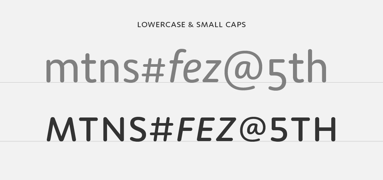 Moniker lowercase to small cap comparison.